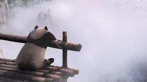 Preview wallpaper panda, mountains, fog, clouds, nature