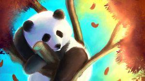 Preview wallpaper panda, cute, tree, art, colorful
