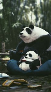 Preview wallpaper pandas, joysticks, cartridges, play, gamer