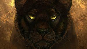 Preview wallpaper panther, black, predator, glance, art