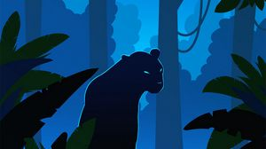 Preview wallpaper panther, silhouette, vector, jungle, art