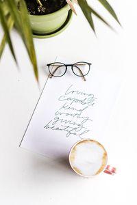 Preview wallpaper paper, inscription, text, cup, glasses