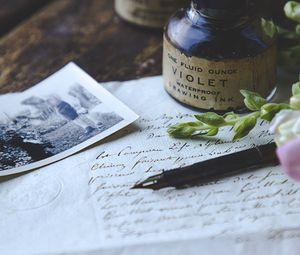 Preview wallpaper letter, paper, pen, ink, vintage