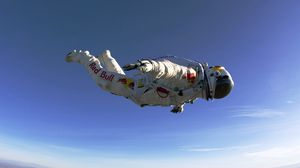 Preview wallpaper paratrooper, red bull, jumping, flying, suit
