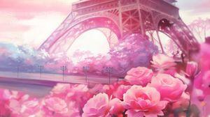 Preview wallpaper paris, flowers, tower, art