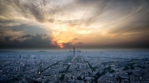 Preview wallpaper paris, france, architecture, sunset, sky, aerial view