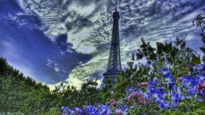 Preview wallpaper paris, france, eiffel tower, flowers, sky, hdr