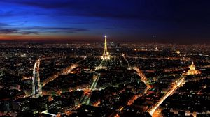 Preview wallpaper paris, france, night, top view, city lights