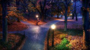 Preview wallpaper park, autumn, city, lights, pavement, trails, leaves