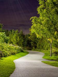 Preview wallpaper park, path, trees, light, twilight