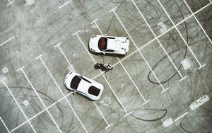 Preview wallpaper parking, cars, motorcycle, top view, lamborghini, ferrari, ducati