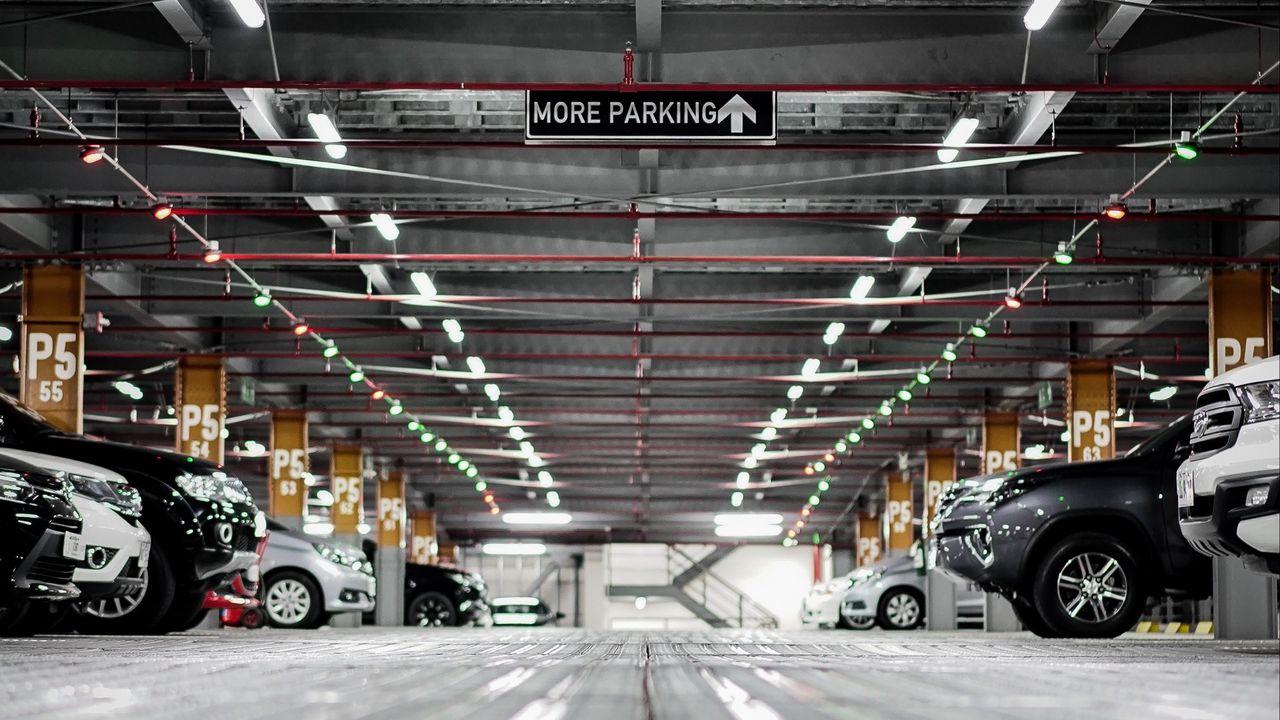 Wallpaper parking, cars, underground, construction, inscription