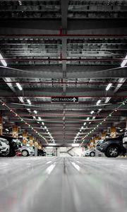 Preview wallpaper parking, cars, underground, construction, inscription