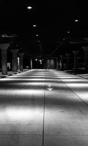 Preview wallpaper parking, dark, bw, architecture, underground