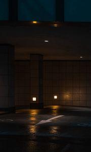 Preview wallpaper parking, night, arrow, dark
