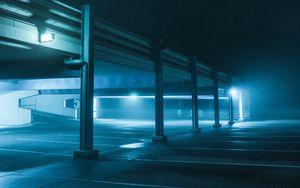 Preview wallpaper parking, night, lights, glow