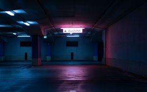 Preview wallpaper parking, underground, light, neon