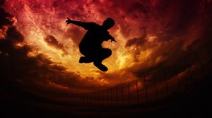 Preview wallpaper parkour, silhouette, jump, sky, clouds, fence
