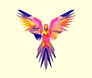 Preview wallpaper parrot, vector, drawing, bright, color