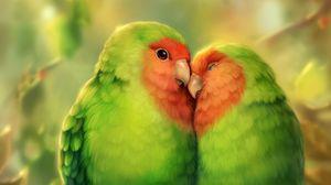 Preview wallpaper parrots, birds, romance, cute, art