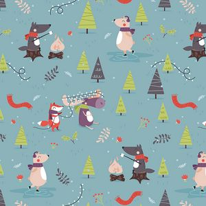 Preview wallpaper pattern, animals, new year, funny, art