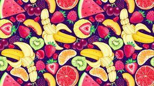 Preview wallpaper pattern, bright, delicious, banana, strawberry, orange, kiwi, watermelon, grapes, cherry, raspberry, blackberry, mango