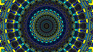 Preview wallpaper pattern, circles, abstraction, blue, yellow