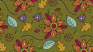 Preview wallpaper pattern, flowers, leaves, branches, art