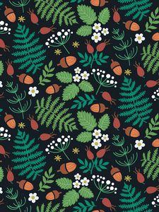 Preview wallpaper pattern, forest, motif, leaves, berries, acorns, strawberries
