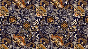 Preview wallpaper pattern, ornament, flowers, branches, leaves