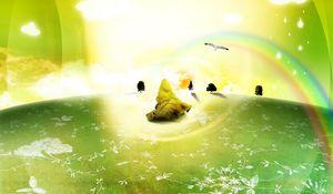 Preview wallpaper peace, green, light, sun, grass, magic