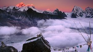 Preview wallpaper peak, top, mountains, ropes, fabric, nepal, everest