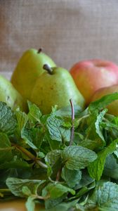 Preview wallpaper pears, apples, mint, herbs, fresh