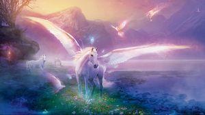 Preview wallpaper pegasus, horse, magic, flowers