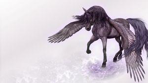 Preview wallpaper pegasus, horse, wings, water