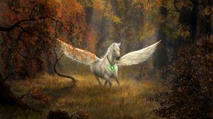 Preview wallpaper pegasus, horse, wings, forest, fantasy, art