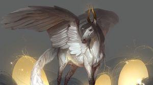Preview wallpaper pegasus, wings, horns, fantasy