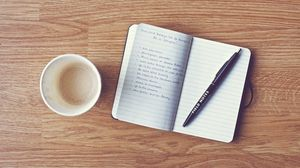 Preview wallpaper pen, coffee, notebook, writing