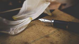 Preview wallpaper pen, petals, letter, text, metallic