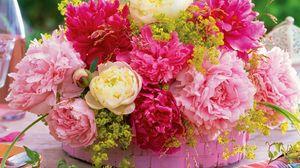 Preview wallpaper peonies, flower, basket, table, serving