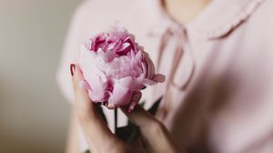 Preview wallpaper peony, flower, hand, tenderness