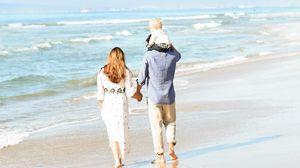 Preview wallpaper people, family, beach, sea, walk