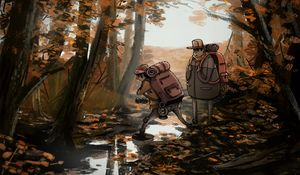 Preview wallpaper people, hike, forest, nature, autumn, art