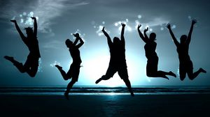 Preview wallpaper people, jump, happiness, beach, shadow, image