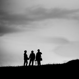 Preview wallpaper people, silhouettes, friends, black and white, dark