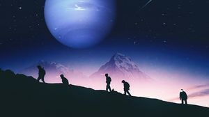 Preview wallpaper people, silhouettes, mountains, planet, space