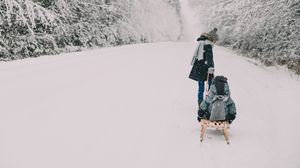 Preview wallpaper people, sleds, snow, winter, fun