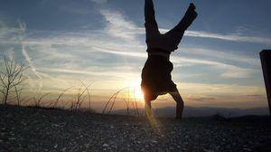 Preview wallpaper people, sun, sunset, jump, dance
