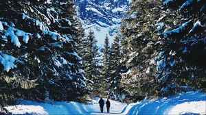 Preview wallpaper people, winter, mountains, forest, snow