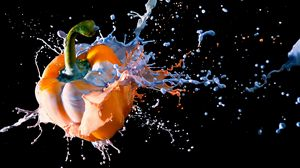 Preview wallpaper pepper, paint, blast, drop, liquid, dark background
